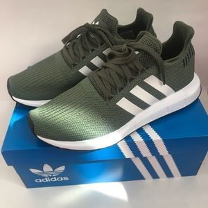 Adidas Run Swift Running Shoe Olive Green Size 9
